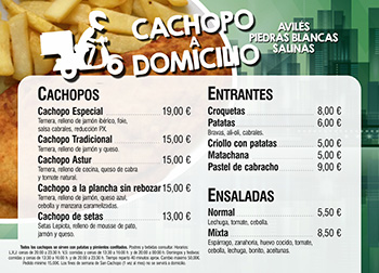 Cachopo a domicilio Aviles - Carta mini