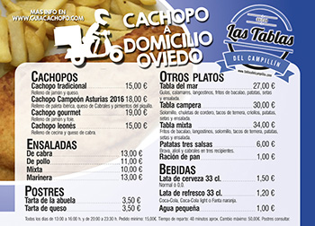 Cachopo a domicilio Ovieo - Carta mini
